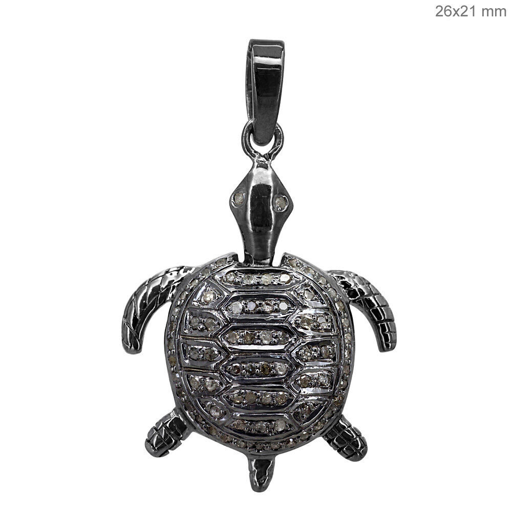 NEW .925 Sterling Silver Diamond Pave Tortoise Pendant Turtle Charm Fine Jewelry