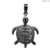 NEW .925 Sterling Silver Diamond Pave Tortoise Pendant Turtle Charm Fine... - $79.16