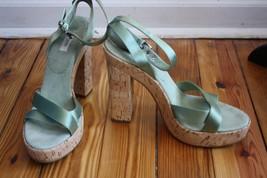 Prada Sage Green Satin Suede Cork Heels 41 11 Ankle Cross Strap Platform Sandals - $137.75