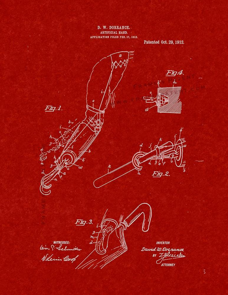 Primary image for Artificial Hand Patent Print - Burgundy Red