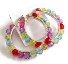 New Rainbow Beads 2 inch hoop earrings Fashion ... - $5.82
