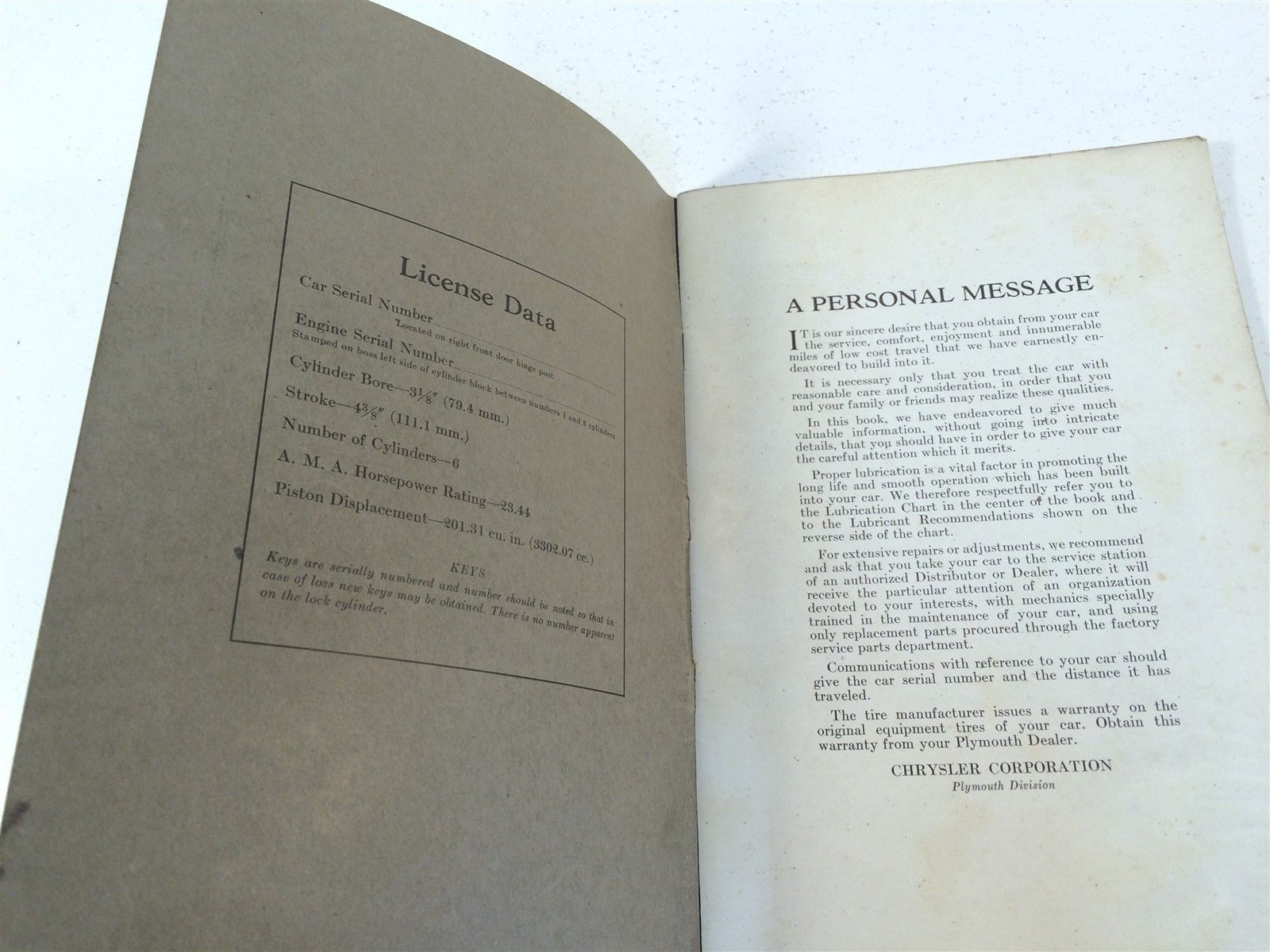 1935 Plymouth Instruction Book (Code PJ) Third Edition OEM Chrysler De Luxe Six