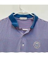 Peter Millar Men's Golf Polo Pink Blue Striped Medium - $29.67