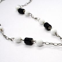 Silver necklace 925, Onyx Black Tube, Double Cross Pendant, Chain Oval image 4