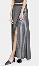 Express High Waist Metallic Silver Faux Wrap Lightweight Maxi Skirt 6 NWOT - $28.42