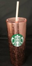 Starbucks 2019 Pink Rose-Gold Speckled Tortoise Foil Marble Tumbler 16 o... - $34.60