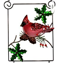 Metal & Glass Winter Holiday Cardinal Seasonal Hanging Welcome Sign Decor image 3