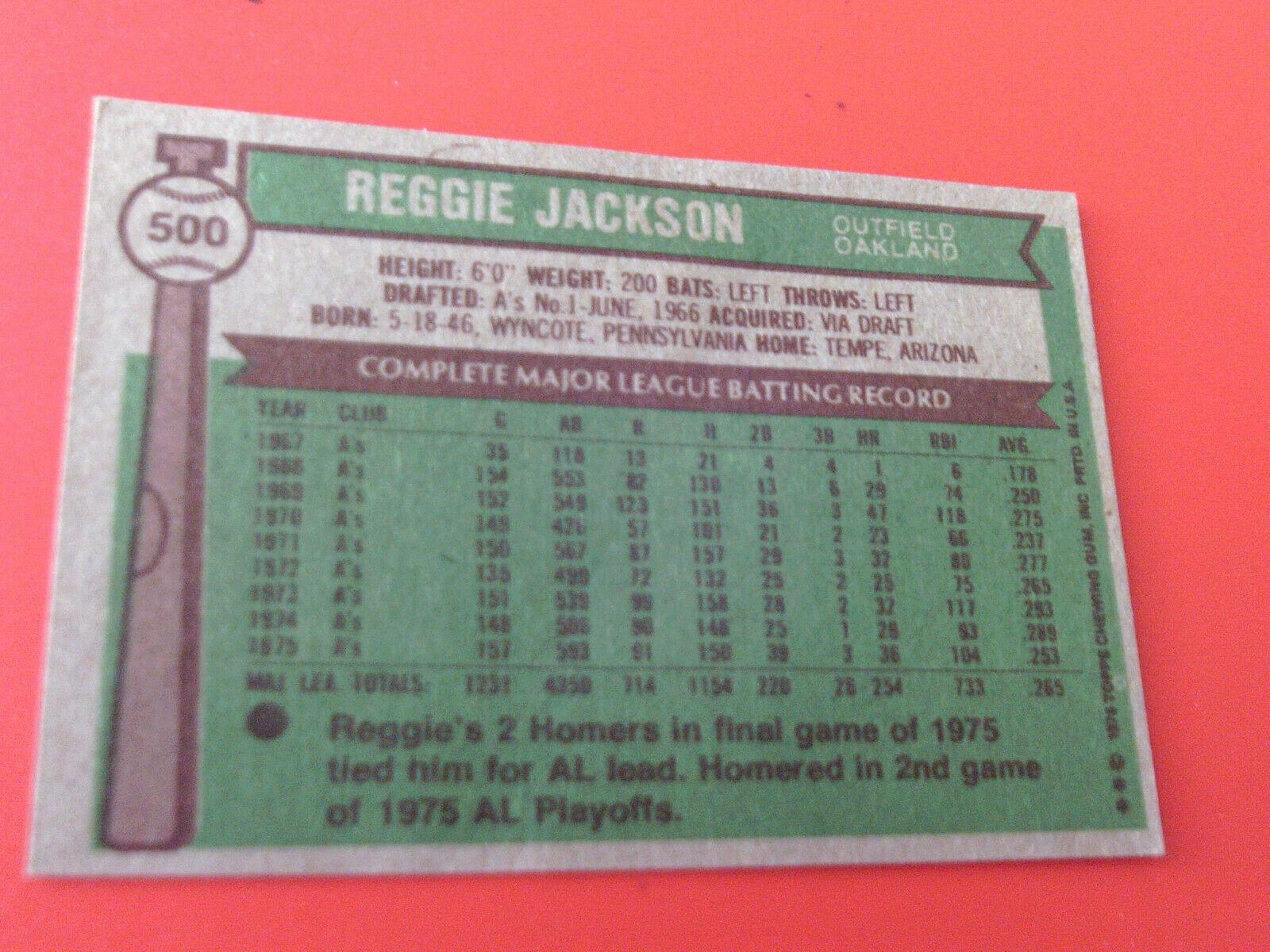 1976  TOPPS   REGGIE  JACKSON   #  500    NEAR  MINT  /  MINT  OR  BETTER   !!