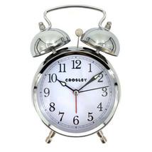 CROSLEY TIMELINK NEW Alarm Clock Vintage Type Metal Non-Ticking Silver T... - $12.86