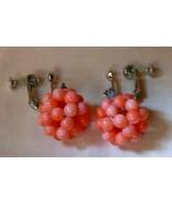 Vintage 1960s Pink Glass Bead Cluster Dangle Earrings Silvertone Clip/Sc... - $10.00