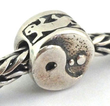 Authentic Trollbeads Ying Yang Sterling Silver Bead Charm 11254, New - $29.21