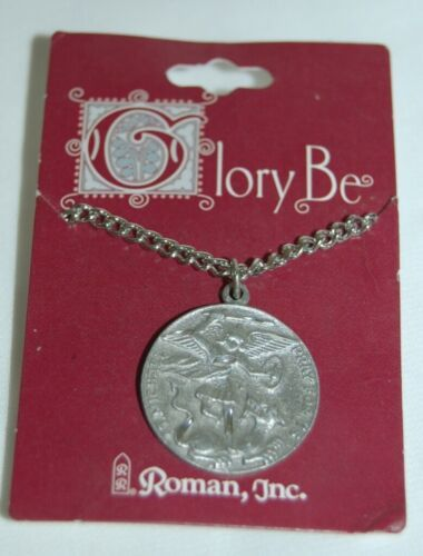Roman Glory Be St Michael Necklace Metal Medallion Charm Silver in Color