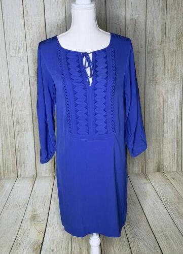 Diane von Furstenberg Silk Iliana Shift Dress Blue Embellished Neckline 2 Blue image 2