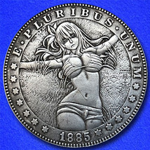 "Girl in Grass ""Hobo Nickel"" on Morgan Dollar Coin ** - $4.79"