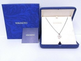 MIKIMOTO Authentic K18WG 4.8mm Pearl & Diamond Necklace about 40cm Used ... - $663.70