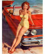 Vintage pin up girl with puppy metal sign classic car boat garage decor - $19.79