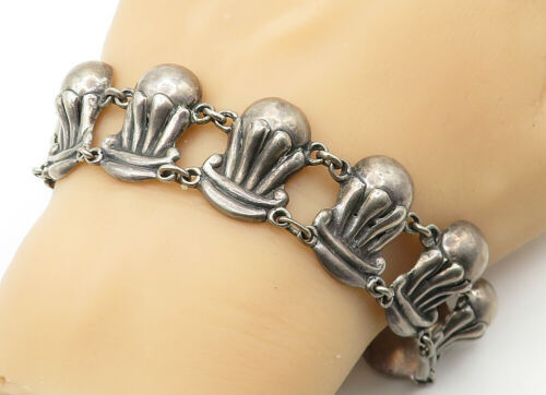 Primary image for TAXCO 925 Silver - Vintage Antique Dark Tone Sculpted Chain Bracelet - B6546