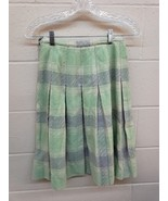 Vintage 1960s Green Blue Plaid Checked Wool Pleated A Line Short Skirt S... - $23.76
