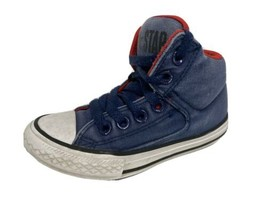 Converse All Star youth boys sneakers textile upper laces blue low top s... - $15.29