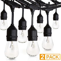 Amico 2 Pack 52FT Outdoor String Lights: Commercial Grade Weatherproof Y... - $69.42