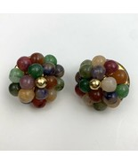 Vintage Lucite Style Plastic Beaded Cluster Clip On Earrings Natural Ear... - $11.84