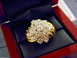 "Estate""Satsky""Solid 18K Y/ Gold Diamond 3.5tcw Cluster Ring Value - $2,260.73"