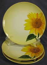 Noritake Colorwave Mustard 8065Y Accent Salad Plates Lot of 3 Round Sunflower - $40.49