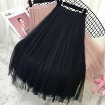 2019 Spring Summer Vintage Skirts Womens Elastic High Waist Tulle Mesh Skirt image 2