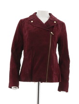 Isaac Mizrahi Suede Motorcycle Jacket Printed Lining Wine 14 NEW A293552 - $83.14