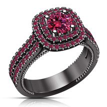 Pink Sapphire Womens Wedding Engagement Ring 14k Black Gold Finish 925 S... - £57.27 GBP