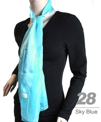 Women's Sky Blue Striped Sheer Polyester Satin Scarf SPS1301