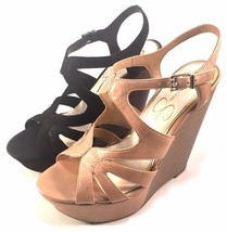 Jessica Simpson Brissah Leather High Wedge Platform Sandals Choose Sz/Color - $79.00