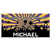Purple and Gold Graduation Banner Personalized Class of 2018 Party Backdrop - £17.34 GBP