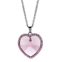 "Silvertone Pink Crystal Halo Heart Necklace With Swarovski Elements 15""-16"" - $21.94"