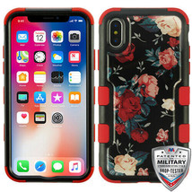 For APPLE iPhone XS/X Red and White Roses/Red TUFF Krystal Gel Hybrid Ca... - $14.56