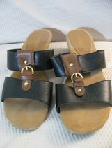 Aerosoles Wedge Sandals Shoes 'Yet It Be' Womens Size 7-1/2 M Black & Brown - $4.05