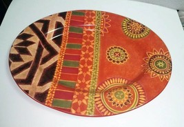 """Hand Painted Tabletops Unlimited Gallery RIO 17"""" Oval Serving Platter MINT! - $23.76"""