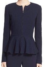 New with Tag - $1,295 St. John Collection Navy Wool-Rayon Peplum Jacket Size 12