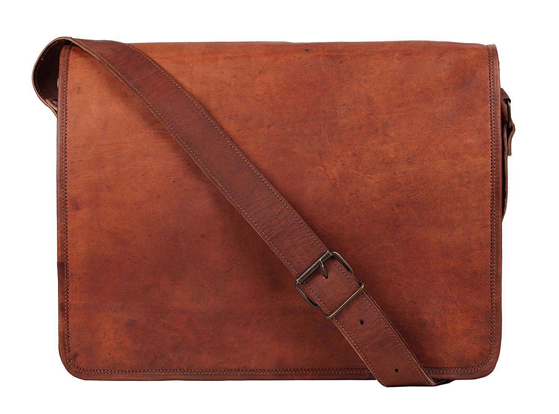 "16"" Vintage Genuine Goat Leather Handmade Cross Body School/Travel Bag New  - $37.21 - $69.12"