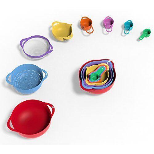 13 Pcs Plastic Mixing Bowls Bowl Cooking Baking Measuring Cups Kitchen Supplies