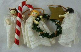 Vintage Wooden Angels with lace dresses & wings Christmas Ornaments Lot ... - $14.84