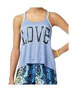 Material Girl Junior Love Graphic Print Athletic Tank Tops Blue 2XL - $8.55