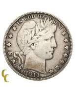 1911 Silver Barber Half Dollar 50C (Fine, F Condition) Natural Color - $44.55