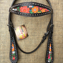 Western Horse Headstall Tack Bridle American Leather Black Floral U-L-HS - $63.95