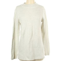 Talbots Classic Mock Neck Ivory Speckled Turtleneck Braided Sweater Size... - $28.71