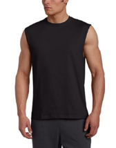 NWT Men's Russell Athletic  Cotton Crew Neck Muscle  Tee Shirt 4X Black - $5.45