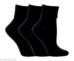 3 LADIES noir Paire SUPERSOFT DESIGNER retourner TOP SOCKS 4-8 - $9.52