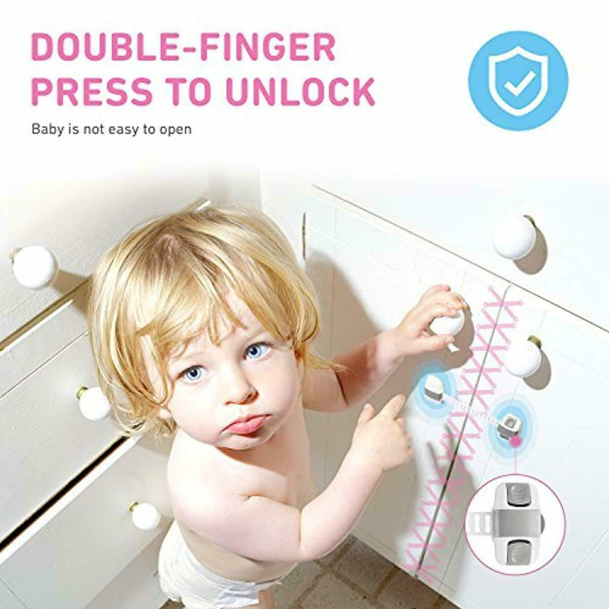 Child Safety Cabinet Locks [6 Pack] |Child Proof Safety Lock with Double-Finger