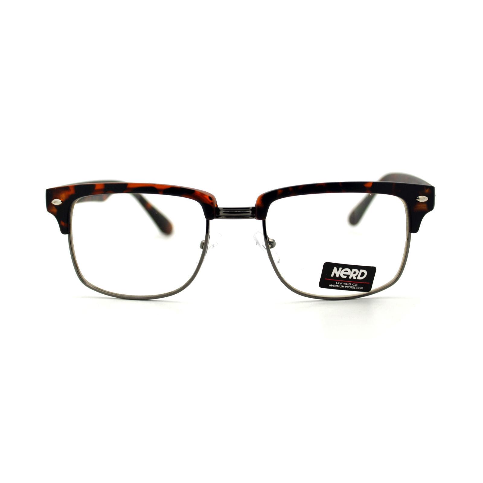 Designer Fashion Eyeglasses Half Metal Plastic Top Square Frame Glasses