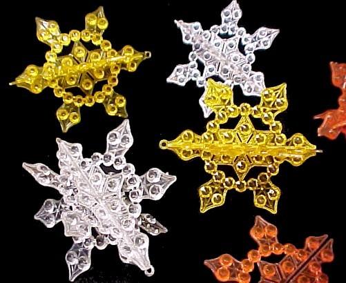 Plastic Snowflake Christmas Tree Ornaments Vintage Aluminum Foil Mid Century 50s